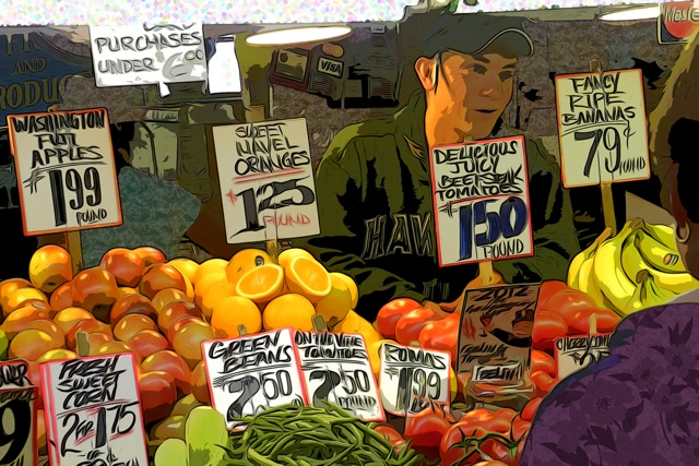 Fruit Vendor, Pike's Market, Seattle Washington © 2012 by Yolanda V. Fundora. All rights reserved.