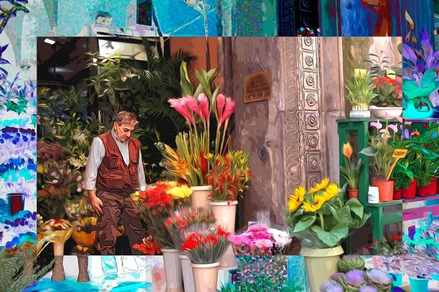 Flower Vendor, Quadrilatero, Bologna, Italy  © 2012  by Yolanda V. Fundora. All rights reserved.