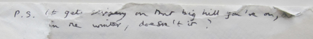 Reverse of envelope of letter from Thom Gunn to Bryan R. Monte, 8 April 1985